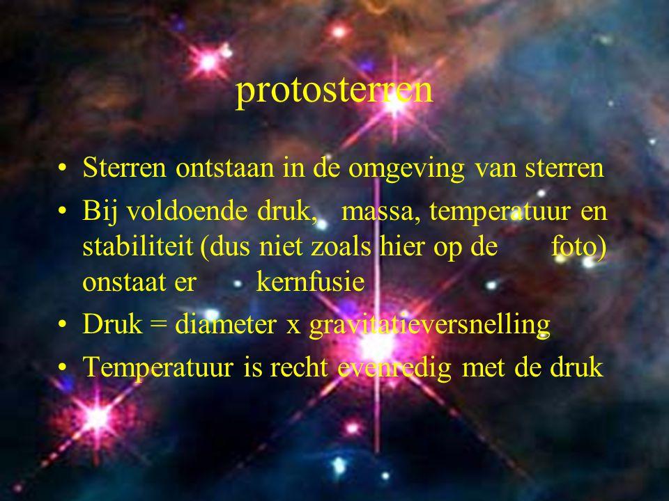 7 Protosterren Voor onze zon geldt: P=7x10 5 x100 x 1,4x20 = 2x10 9 atm Bethe, Weizsacker, Gamow en Teller bewijzen dat bij deze druk de temperatuur hoog genoeg is om kernfusie te laten ontstaan..