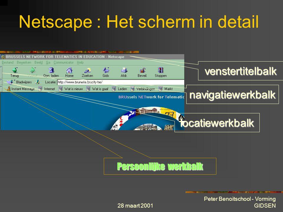 28 maart 2001 Peter Benoitschool - Vorming GIDSEN venstertitelbalk navigatiewerkbalk locatiewerkbalk Persoonlijke werkbalk Netscape : Het scherm in detail