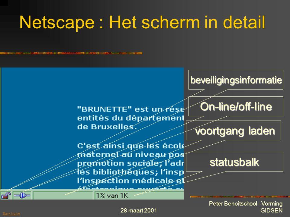 28 maart 2001 Peter Benoitschool - Vorming GIDSEN statusbalk voortgang laden voortgang laden On-line/off-line beveiligingsinformatie Netscape : Het scherm in detail Back home
