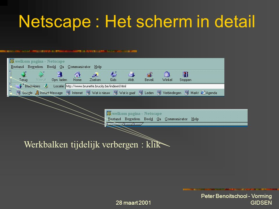 28 maart 2001 Peter Benoitschool - Vorming GIDSEN Netscape : Het scherm in detail Werkbalken tijdelijk verbergen : klik