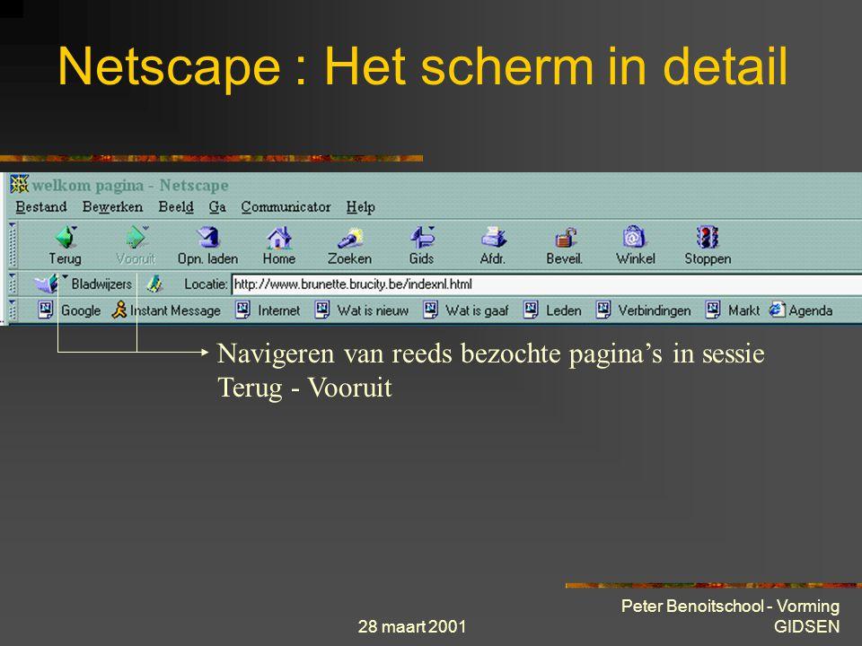 28 maart 2001 Peter Benoitschool - Vorming GIDSEN Netscape : Het scherm in detail Navigeren van reeds bezochte pagina's in sessie Terug - Vooruit