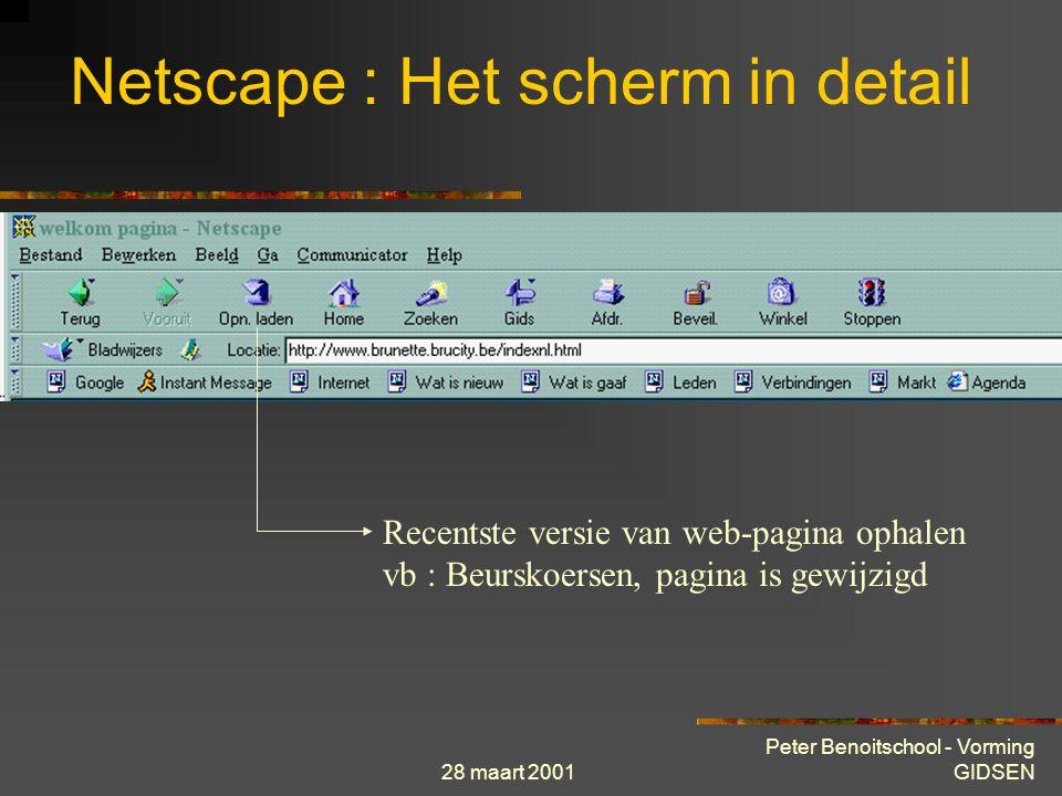 28 maart 2001 Peter Benoitschool - Vorming GIDSEN Netscape : Het scherm in detail Recentste versie van web-pagina ophalen vb : Beurskoersen, pagina is gewijzigd