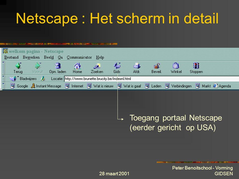 28 maart 2001 Peter Benoitschool - Vorming GIDSEN Netscape : Het scherm in detail Toegang portaal Netscape (eerder gericht op USA)