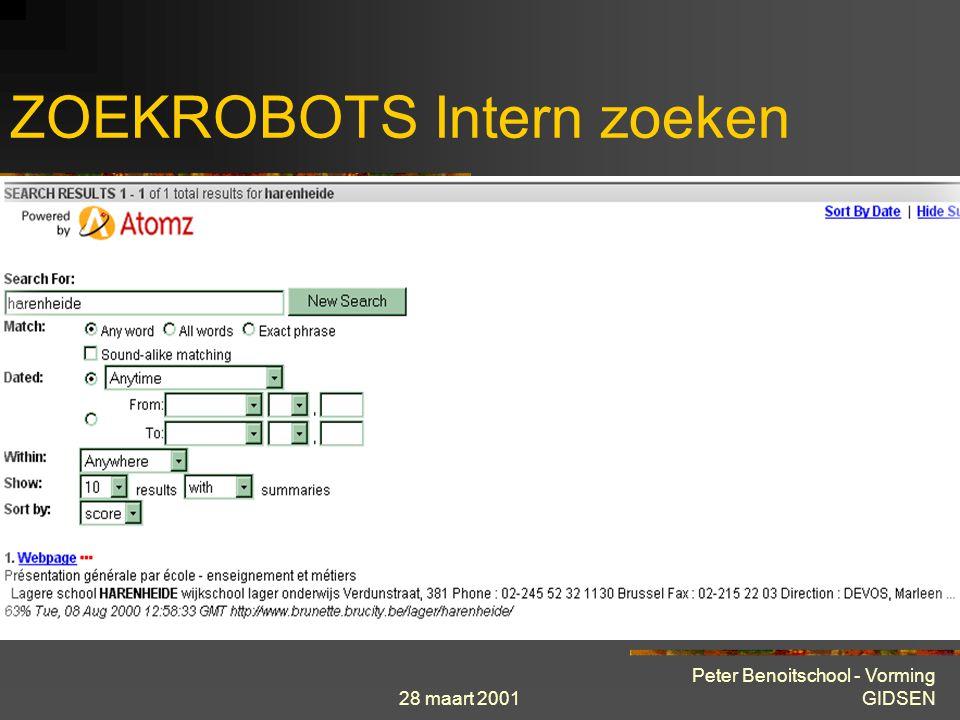 28 maart 2001 Peter Benoitschool - Vorming GIDSEN ZOEKROBOTS Intern zoeken