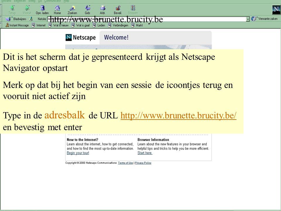 28 maart 2001 Peter Benoitschool - Vorming GIDSEN INTERNET startpagina netscape http://www.brunette.brucity.be Dit is het scherm dat je gepresenteerd krijgt als Netscape Navigator opstart Merk op dat bij het begin van een sessie de icoontjes terug en vooruit niet actief zijn Type in de adresbalk de URL http://www.brunette.brucity.be/ en bevestig met enterhttp://www.brunette.brucity.be/