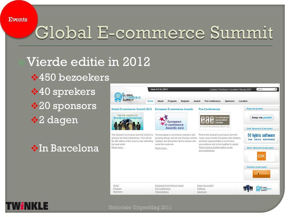  Tweede editie in 2012  10 Europese landen  2 prijzen  Beste Europese webwinkel  Beste Cross Border webwinkel  Tijdens de Global E-commerce Summit Nationale Uitgeefdag 2011 Events
