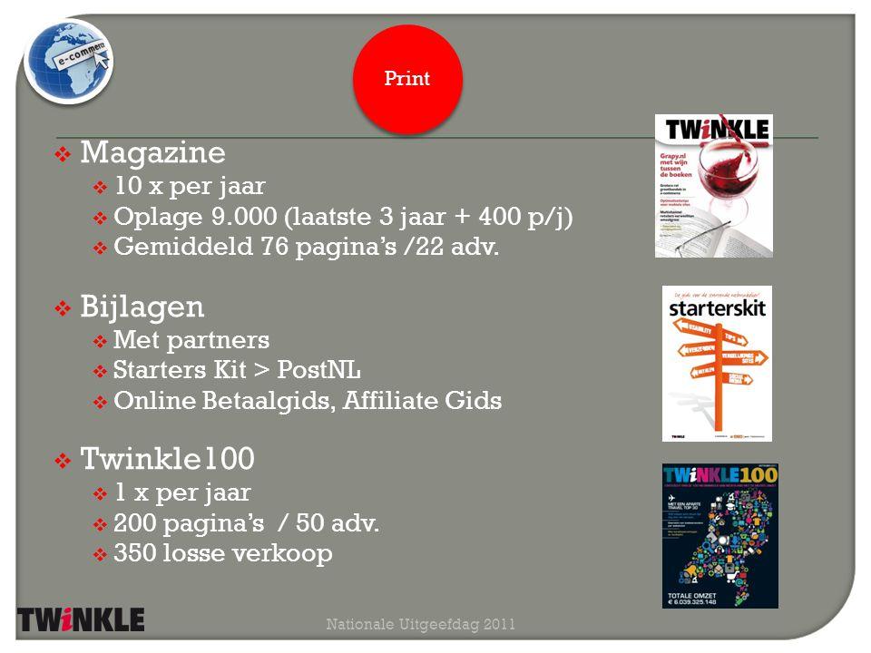  Website  www.twinklemagazine.nl  150.000 pageviews p/m  Roxen CMS  Nieuwsbrief  wekelijks  10.000 abonnees (4% groei yoy)  Mobiele site  op het punt van lanceren  Twinkle100-app  iOS en Android  4.300 volgers op Twitter Nationale Uitgeefdag 2011 Digitaal