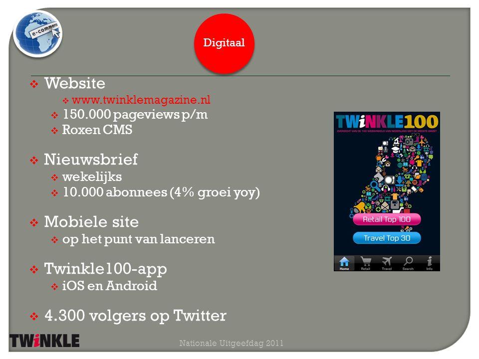  Website  www.twinklemagazine.nl  150.000 pageviews p/m  Roxen CMS januari 2010 Nationale Uitgeefdag 2011 Digitaal