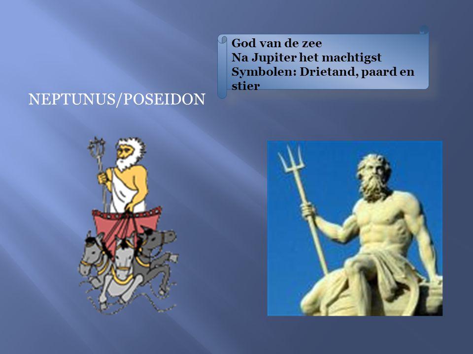 PLUTO/HADES God van de onderwereld en rijkdom Attributen: kroon, metalen, juwelen, Cerberushond met drie koppen