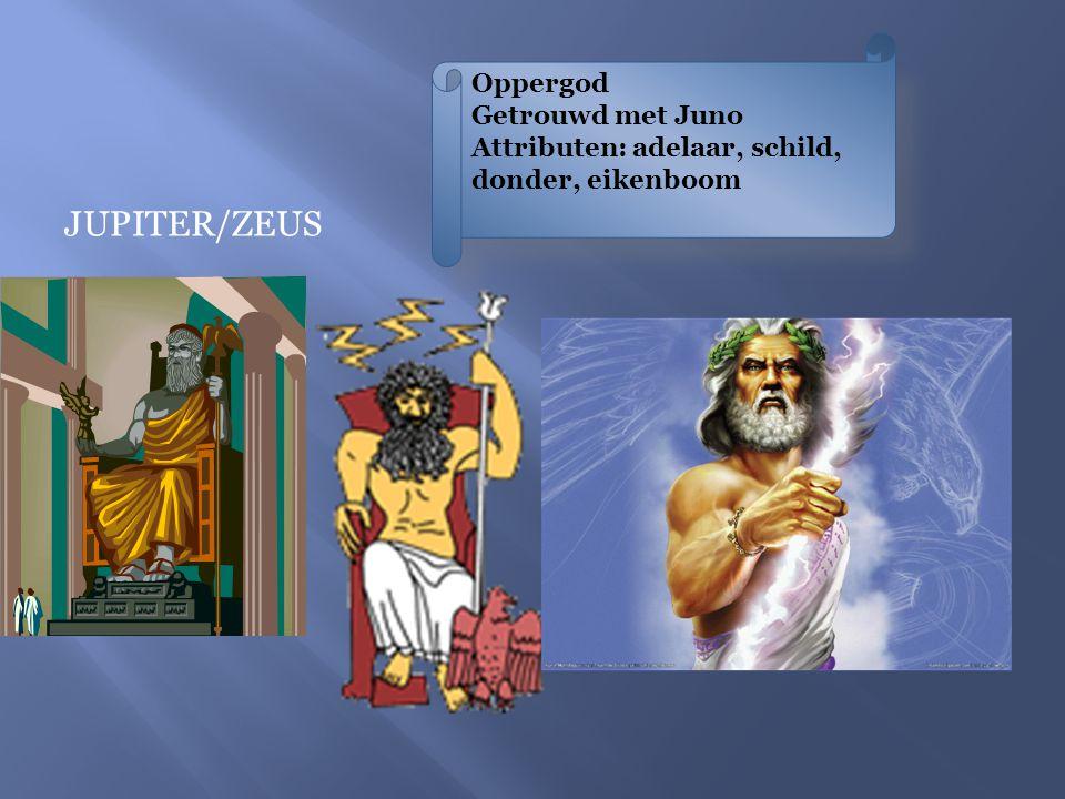 JUNO/HERA Godin van de goden Godin van de hemel, huwelijk en geboorte Getrouwd met Jupiter Attributen: Pauw of koe
