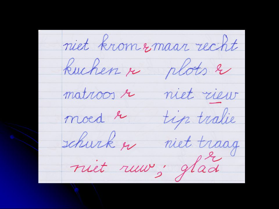 De kinderen moeten de woordjes uit het hoofd kunnen opschrijven.
