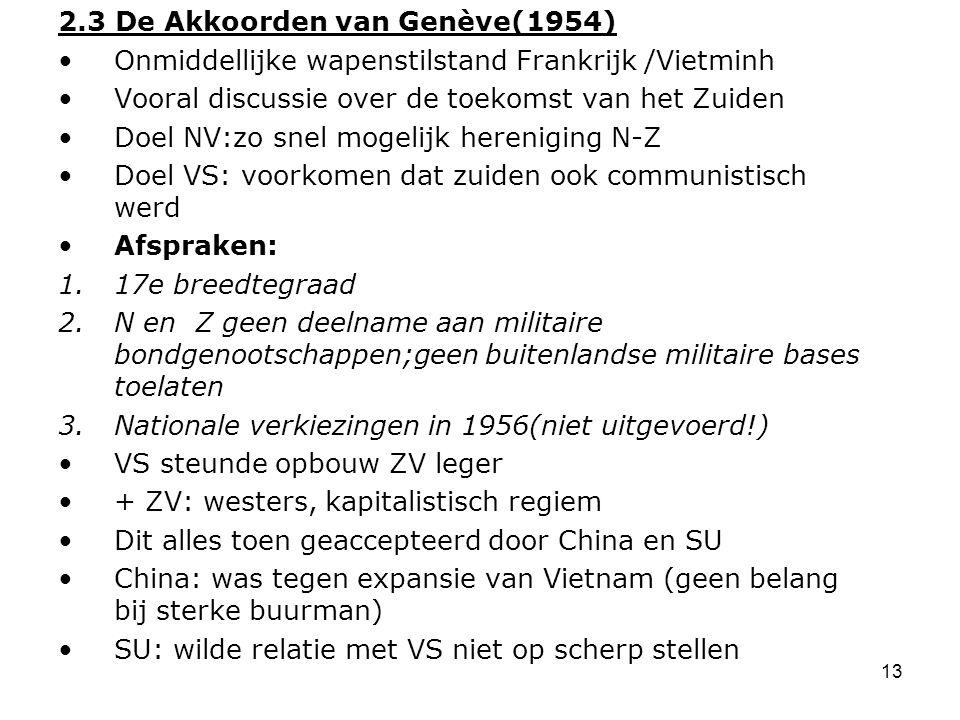14 Hoofdstuk 3: Noord en Zuid-Vietnam na 1954 Deelvraag: Waarom kwam het opnieuw tot een oorlog in Vietnam.