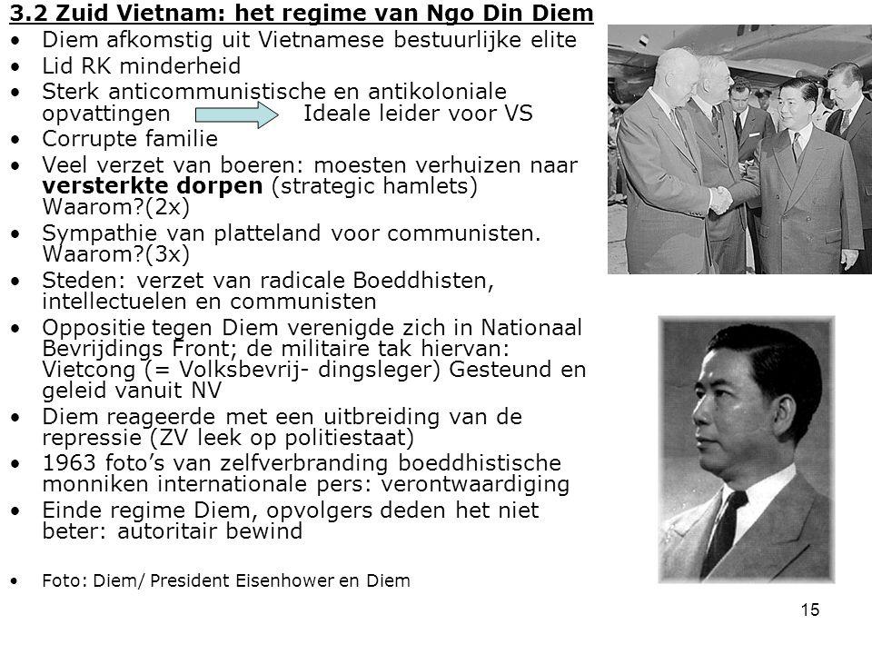 16 3.3 N en Z Vietnam in het krachtenveld van de Koude Oorlog ZV leger gesteund door VS: materieel en adviseurs ZV leger: legerleiding incapabel (politieke benoemingen), onderlinge rivaliteit en corruptie 1960 NV leger versterkt Vietcong 1961 Kennedy stuurt helikopters en uitbreiding adviseurs tot 10.000 Na vreedzame coëxistentie hardere confrontatie in Vietnam: Lyndon B Johnson ipv Kennedy Chroetsjov afgezet NV bleef qua buitenlandse politiek redelijk onafhankelijk (speelde SU en China tegen elkaar uit): Ho was communist maar ook nationalist (was hij agressief op communistische expansie gericht.