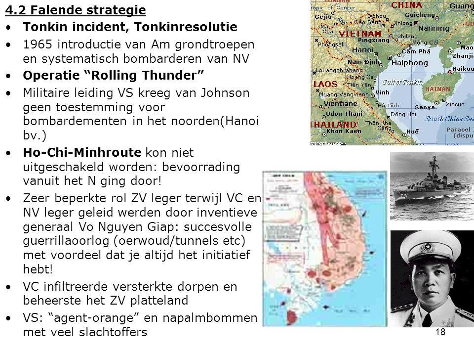 19 4.4 Het einde van de Amerikaanse interventie in Vietnam Generaal Westmoreland wilde steeds meer troepen 1968 half miljoen Am soldaten, maar geen doorbraak Gedemoraliseerde soldaten: aantasting gevechtskracht.