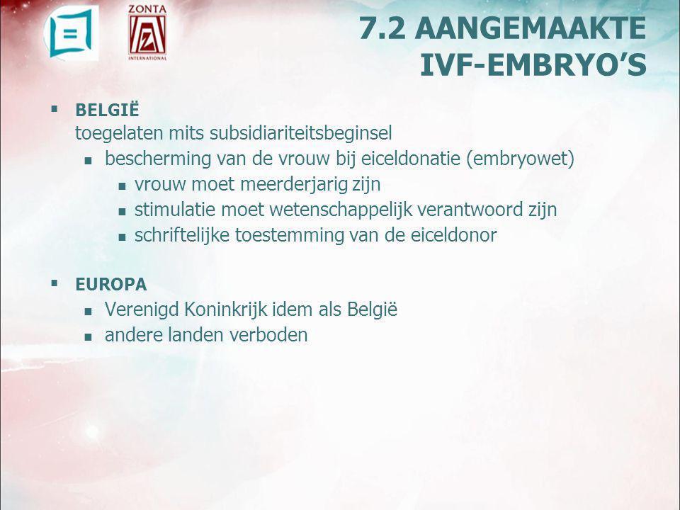 BELGIË wet op medisch begeleide voortplanting (2007) stelt dat gametendonoren beschikkingsmacht hebben over overtollige embryo's Eigendomsbegrip (voorlopig?) niet aanvaard 7.3 EIGENDOMSRECHT/ ZEGGINGSSCHAP OVER LICHAAMSMATERIALEN