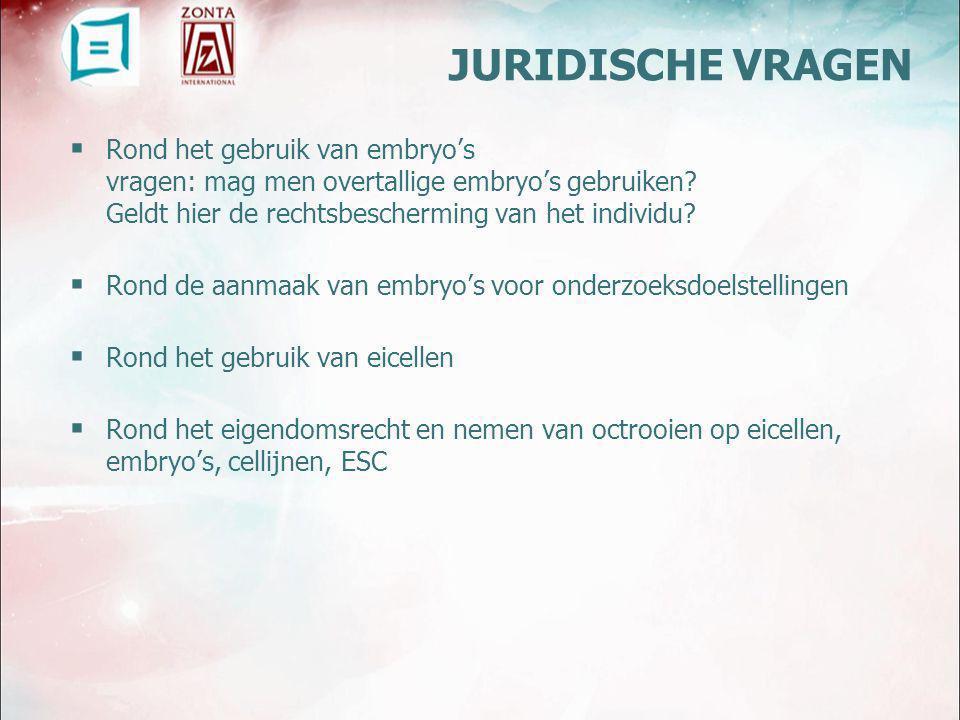  BELGIË Embryo-wet 11 Mei 2003 Staatsblad 28 mei 2003 : verbod op gebruik van embryo's en gameten voor commerciele doeleinden wet op MBV: onkostenvergoeding toegestaan (verplaatsing, loon, ZH-onkosten)  EUROPA zeer schaars in toekennen van patenten met betrekking tot humane ES  VERENIGDE STATEN permissiever bij toekennen van patenten op gebruik van stamcellen betaling voor eiceldonatie zeer courante praktijk (5000$ tot soms 50 000$) COMMERCIEEL GEBRUIK VAN EICELLEN EN EMBRYO'S