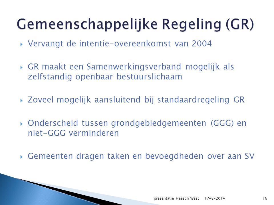  SV wordt verantwoordelijk voor realisatie Heesch West: daadkrachtige besluitvorming van vier gemeenten naar één bestuurslichaam  Biedt de conceptbestemmingsplannen aan de GGG aan (economische haalbaarheid)  Sluit een Gebiedsontwikkelingsovereenkomst met de GGG 17-8-2014presentatie Heesch West17
