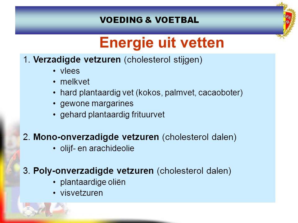 Van vetzuur energie (spier - organen) Opslagplaats (of bestemming vetten) onderhuids vetvet tussen organen bloedvetten spiervetten Reserve : zeer groot Verbruik : –Langdurige en rustige inspanningen –Energie om te leven De bestemming van vetten VOEDING & VOETBAL