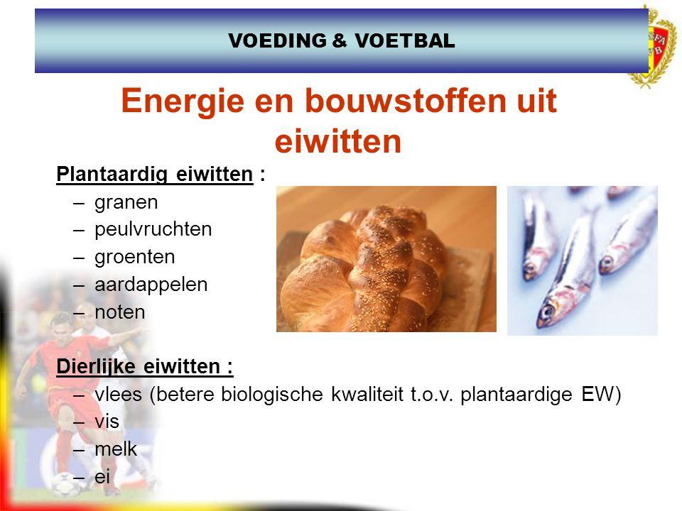 Functie van eiwitten: –Spieropbouw en -herstel –Bouwstenen van hormonen, enzymes, afweerstoffen Vb: hemoglobine, EPO –Energielevering (beperkt) Reserve : groot De bestemming van eiwitten VOEDING & VOETBAL