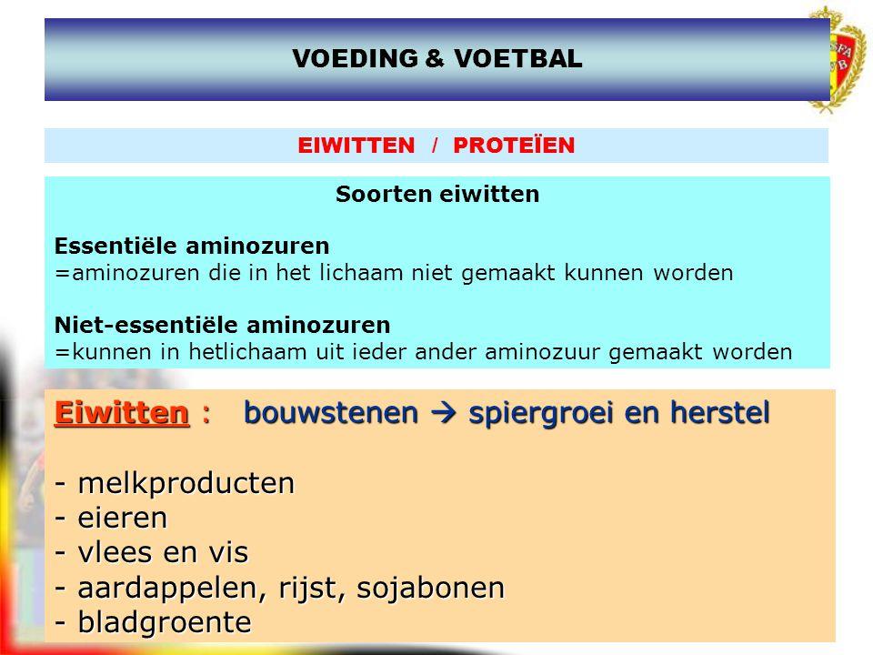 www.joostdesender.be VITAMINEN en MINERALEN Vitaminen Vit A,D,E,K zijn vetoplosbaar en kunnen dus maar voorkomen in vetstofhoudende voedingsmiddelen Vit B,C, P zijn oplosbaar in water Mineralen Calcium : spiercontractie, overdracht van zenuwimpulsen Magnesium : spiercontracties, energieprocessen Fosfor : energielevering (ATP) Kalium: Natrium : Spierwerking, zenuwprikkeling IJzer : zuurstoftransportsysteem VOEDING & VOETBAL