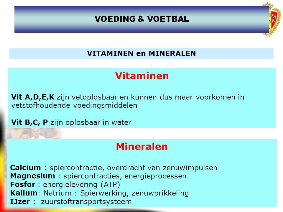 www.joostdesender.be VOEDING & VOETBAL MICRONUTRIËNTEN Vitaminen Vitamine A, B1, B2 en B6 Mineralen : Fe, Na, K, Ca, F, Zn, Mg, Cu en J Een gezonde voeding voorziet al deze elementen, doch bij intensieve sportbeoefening kan een gedoseerde aanvulling noodzakelijk zijn.