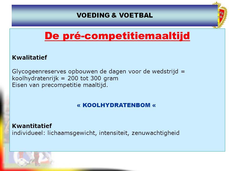www.joostdesender.be De pré-competitiemaaltijd Doel –glycogeen spier / lever aanvullen en maximaliseren gedeeltelijk verbruikt gedurende nacht –start : voeding volledig verteerd Hoe.