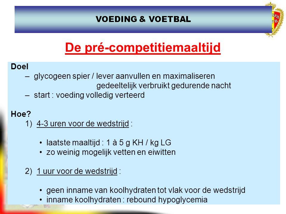 De pré-competitiemaaltijd 3) 30 min voor de wedstrijd : –hyperhydratatie : 300 tot 400 ml water (vb.