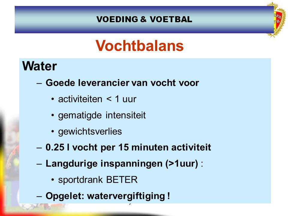 www.joostdesender.be VOEDING & VOETBAL Drinken, maar wat.