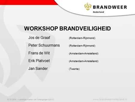 WORKSHOP BRANDVEILIGHEID