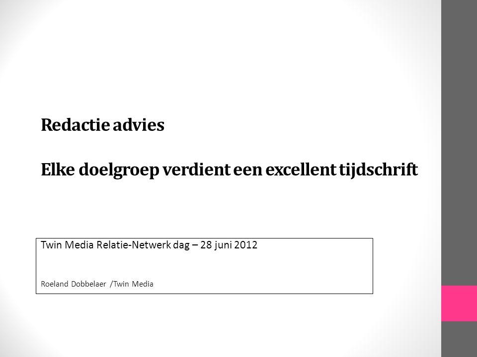 Twin Media in cijfers 30 jaar ervaring: specialist in redactioneel ontwerpen en vormgeven 35 uitgeverijen in Nederland als klant 60 tijdschrifttitels worden in huis geproduceerd – waarvan 6 digitaal 15 à 20 websites per jaar 80 boeken gemiddeld per jaar in productie 20 grafische specialisten onder een dak