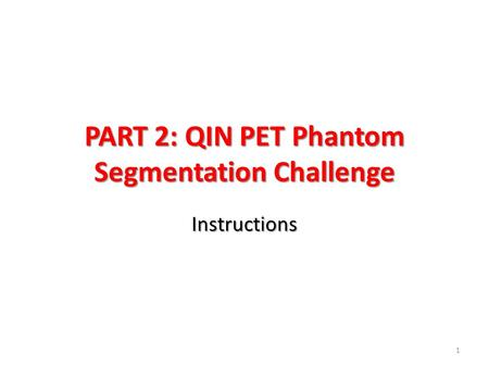 PART 2: QIN PET Phantom Segmentation Challenge Instructions 1.