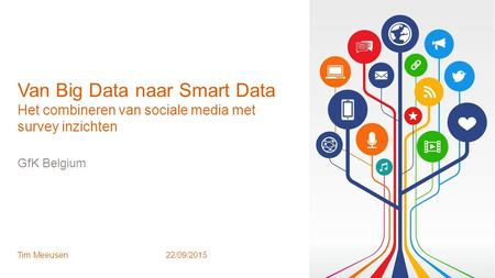 1 © GfK October 12, 2015 | Van Big Data naar Smart Data GfK Belgium Tim Meeusen22/09/2015 Van Big Data naar Smart Data Het combineren van sociale media.
