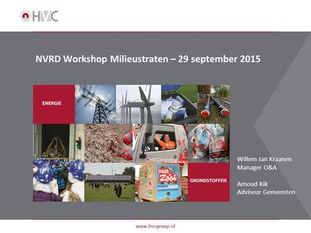 NVRD Workshop Milieustraten – 29 september 2015 Willem Jan Kraanen Manager O&A Arnoud Kik Adviseur Gemeenten.