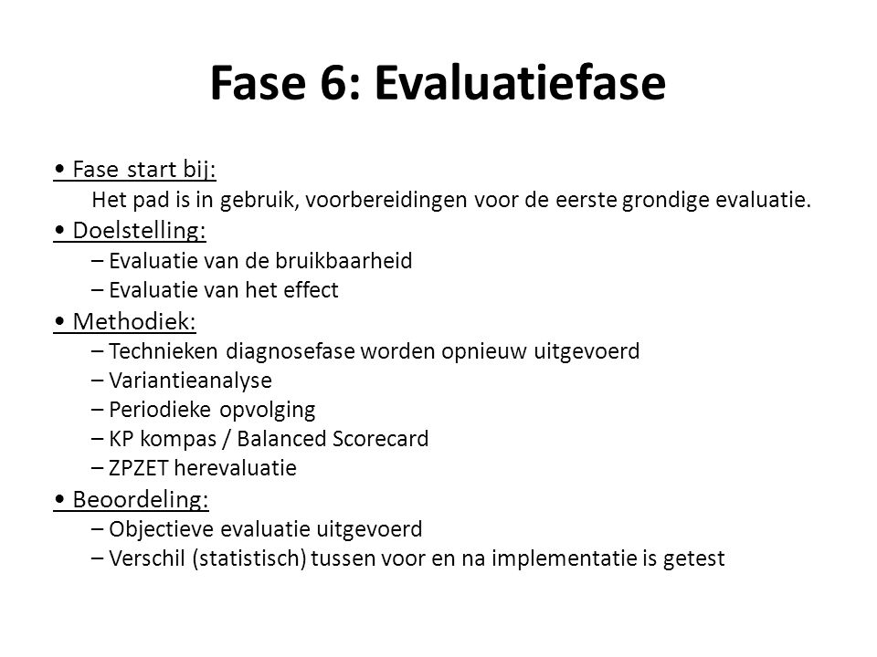 Fase 7: Continue Opvolgingsfase Fase start bij: Het klinisch pad is in gebruik en geëvalueerd.