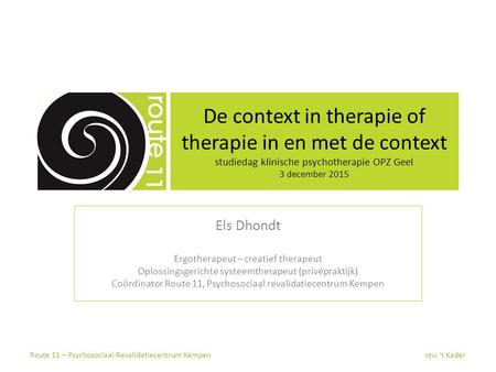 De context in therapie of therapie in en met de context studiedag klinische psychotherapie OPZ Geel 3 december 2015 Els Dhondt Ergotherapeut – creatief.