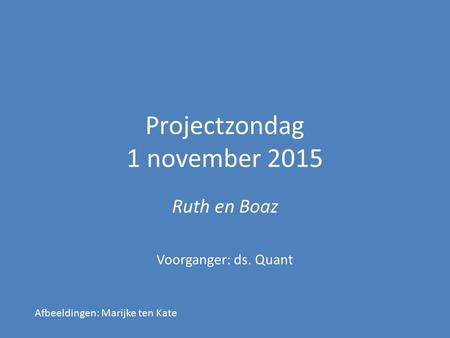 Projectzondag 1 november 2015