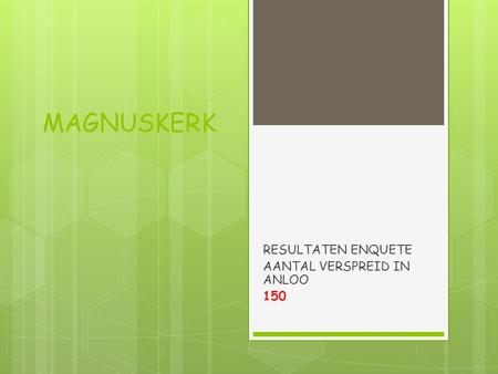 MAGNUSKERK RESULTATEN ENQUETE AANTAL VERSPREID IN ANLOO 150.