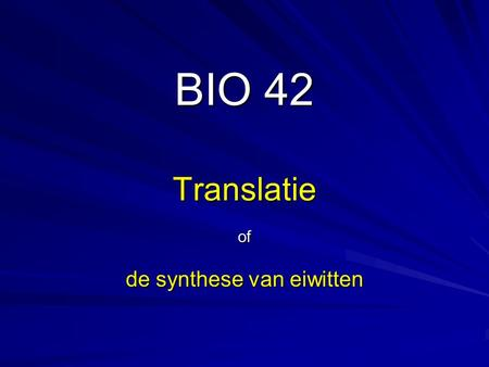 of de synthese van eiwitten