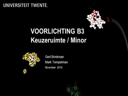 VOORLICHTING B3 Keuzeruimte / Minor Gert Brinkman Mark Tempelman November 2015.