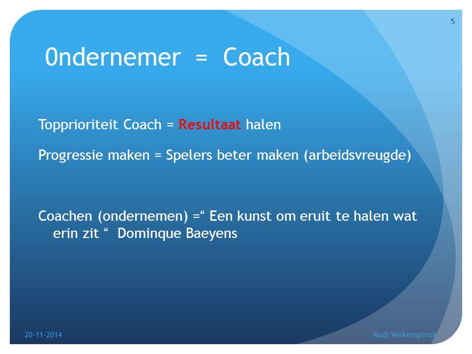 0ndernemer = Coach Over welke eigenschappen moet een Coach (bedrijfsleider) beschikken om het maximum resultaat uit zijn ploeg (bedrijf) te halen .