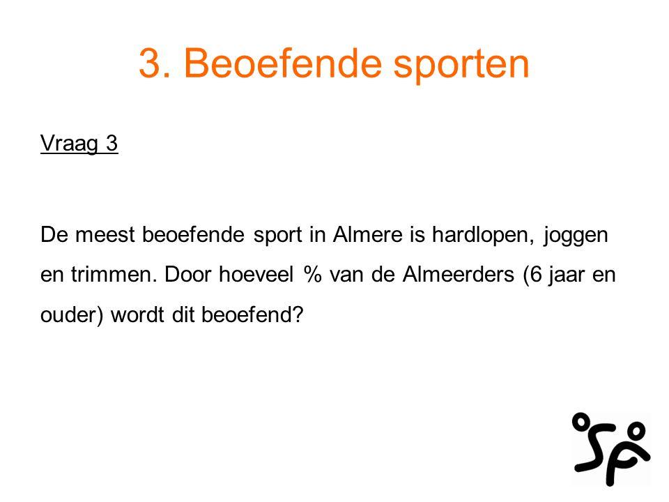 Beoefende sporten De meest beoefende sport in Almere is hardlopen, joggen en trimmen.