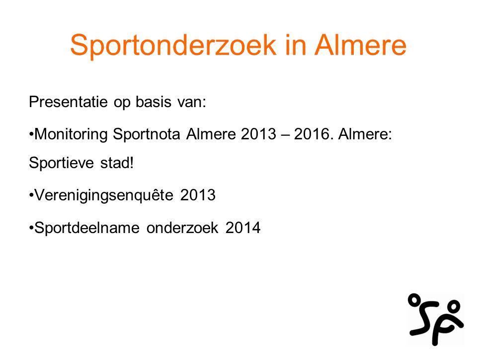Sportonderzoek in Almere Met als doel: Een beeld te schetsen van de sportende Almeerder waarmee u in staat bent u sportvereniging zo toekomstbestendig mogelijk te organiseren.