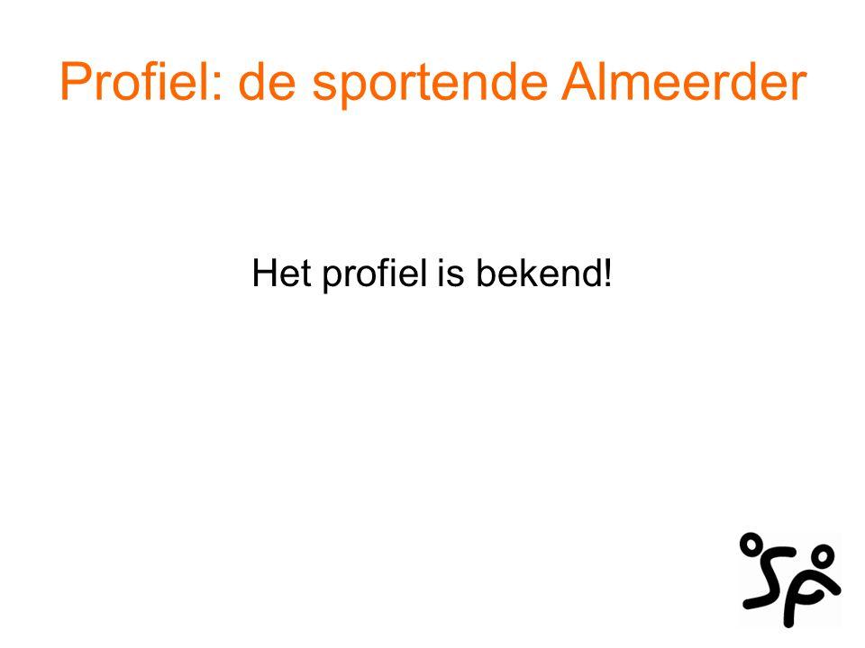Profiel: de sportende Almeerder De Almeerder: Sport omdat hij het leuk vindt, het gezond en goed voor de conditie is.