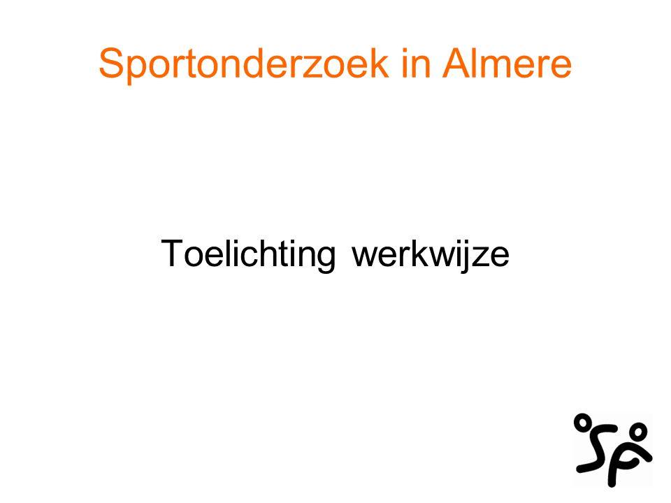 Sportonderzoek in Almere 1.Sportdeelname 2.Lidmaatschap sportverenigingen 3.Beoefende sporten in Almere 4.Redenen om wel te sporten 5.Redenen om niet te sporten 6.Het profiel van de sportende Almeerder + gesprek
