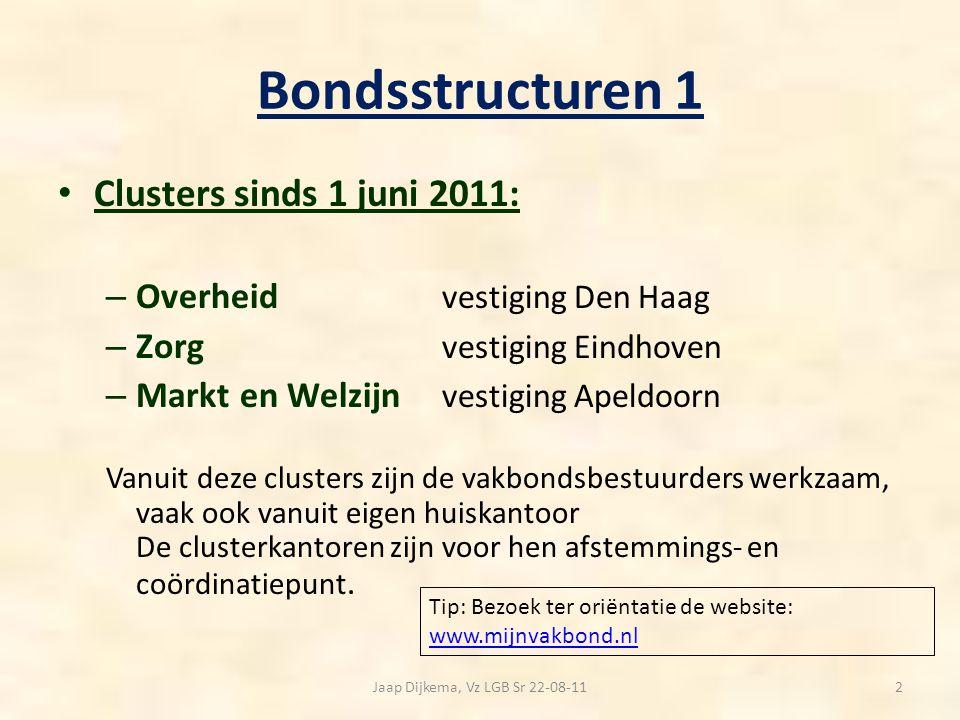 Bondsstructuren2 Belangenbehartiging en verenigingswerk via beroeps-, c.q.
