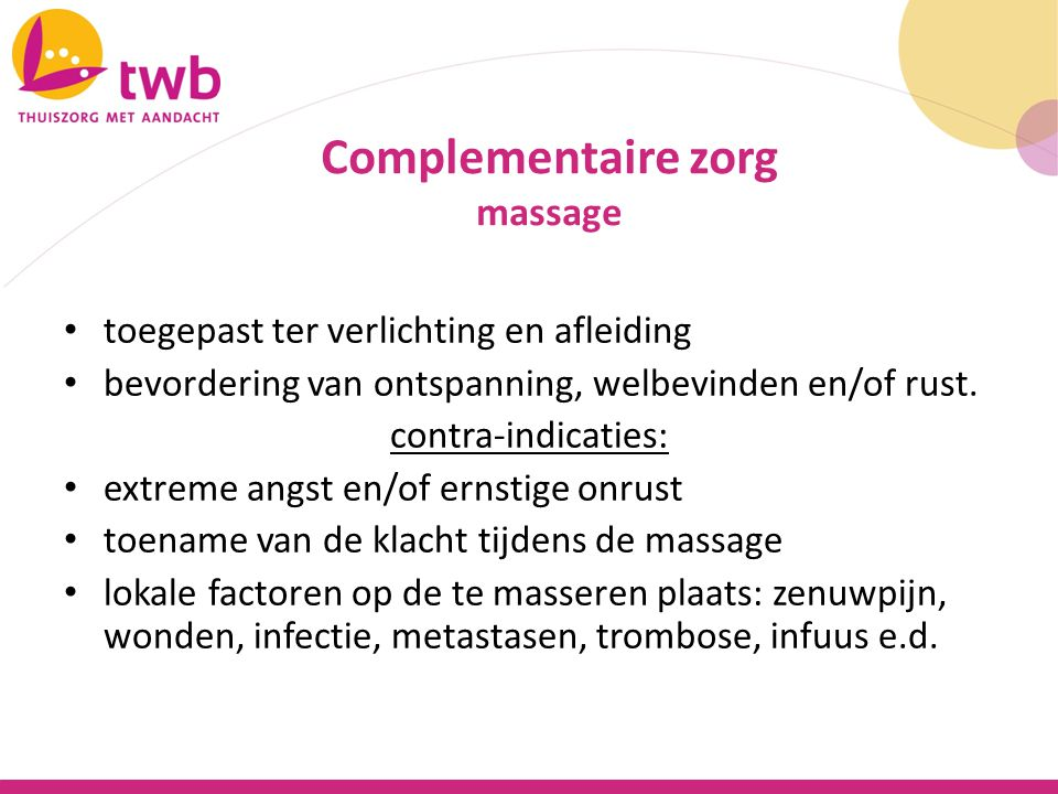 Complementaire zorg Massage