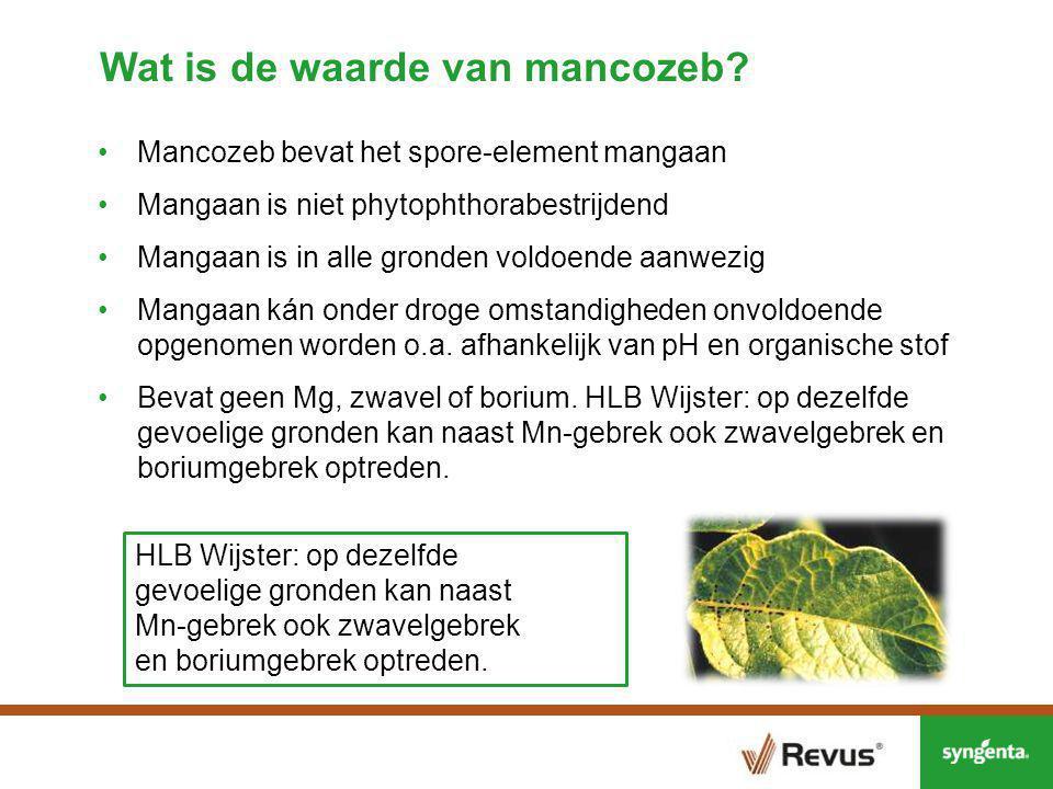 Revus en mangaan; Proeven Kollumerwaard en Westmaas ProductMancozeb- gehalte (gr per l/kg) Mn-gehalte per l/kg Dosering l/kg per ha Mn gr per ha Revus000.60 Dithane7501502.0300 Curzate M6801362.5340 Valbon Start 7001401.6224 Valbon7001402.0280 Mn-nitraat01000.550 Toediening van mangaan d.m.v.