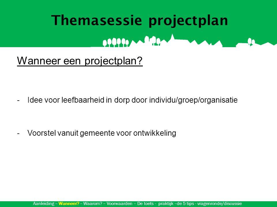Themasessie projectplan Waarom een projectplan.