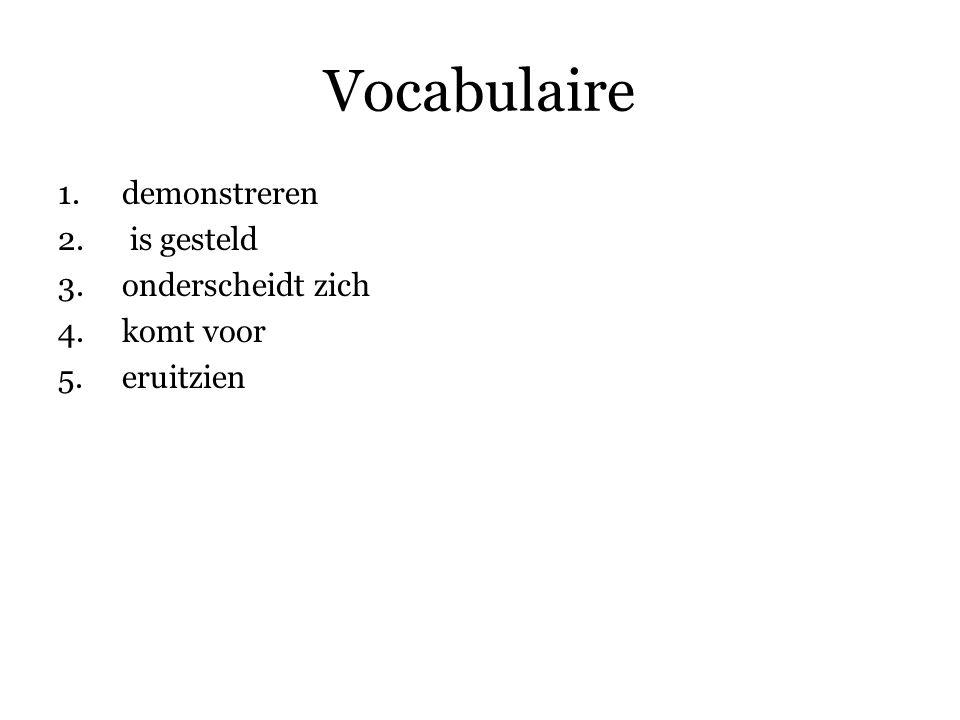 Vocabulaire 1.demonstreren 2.
