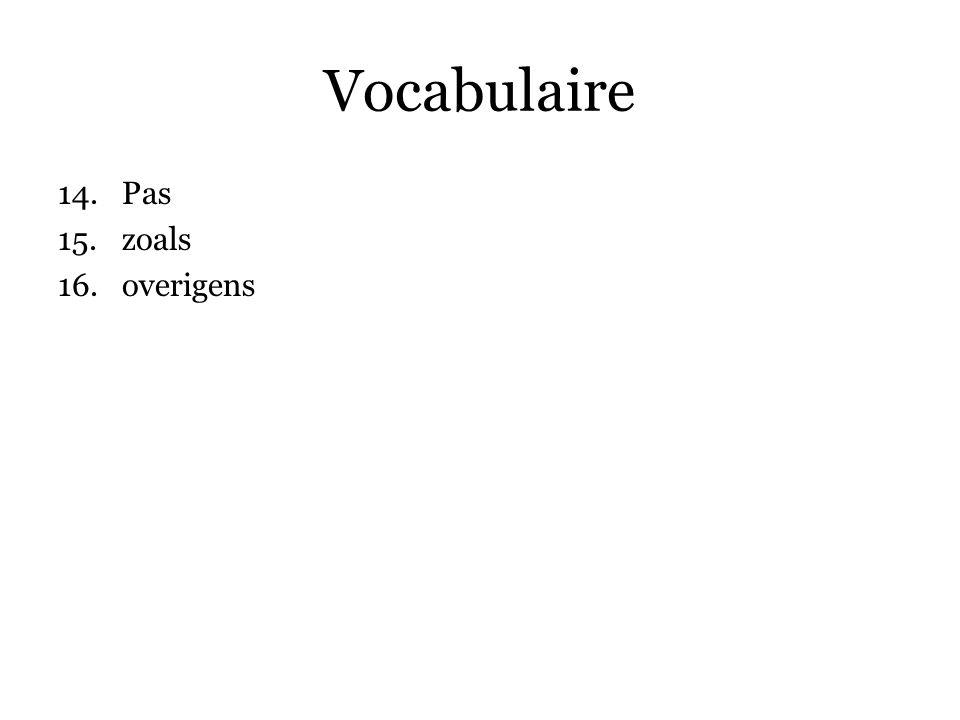 Vocabulaire 14.Pas 15.zoals 16.overigens 17.buitenissig